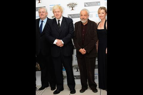 At the Another Year Gala: Peter Wight,  London Mayor Boris Johnson, Mike Leigh, Lesley Manville